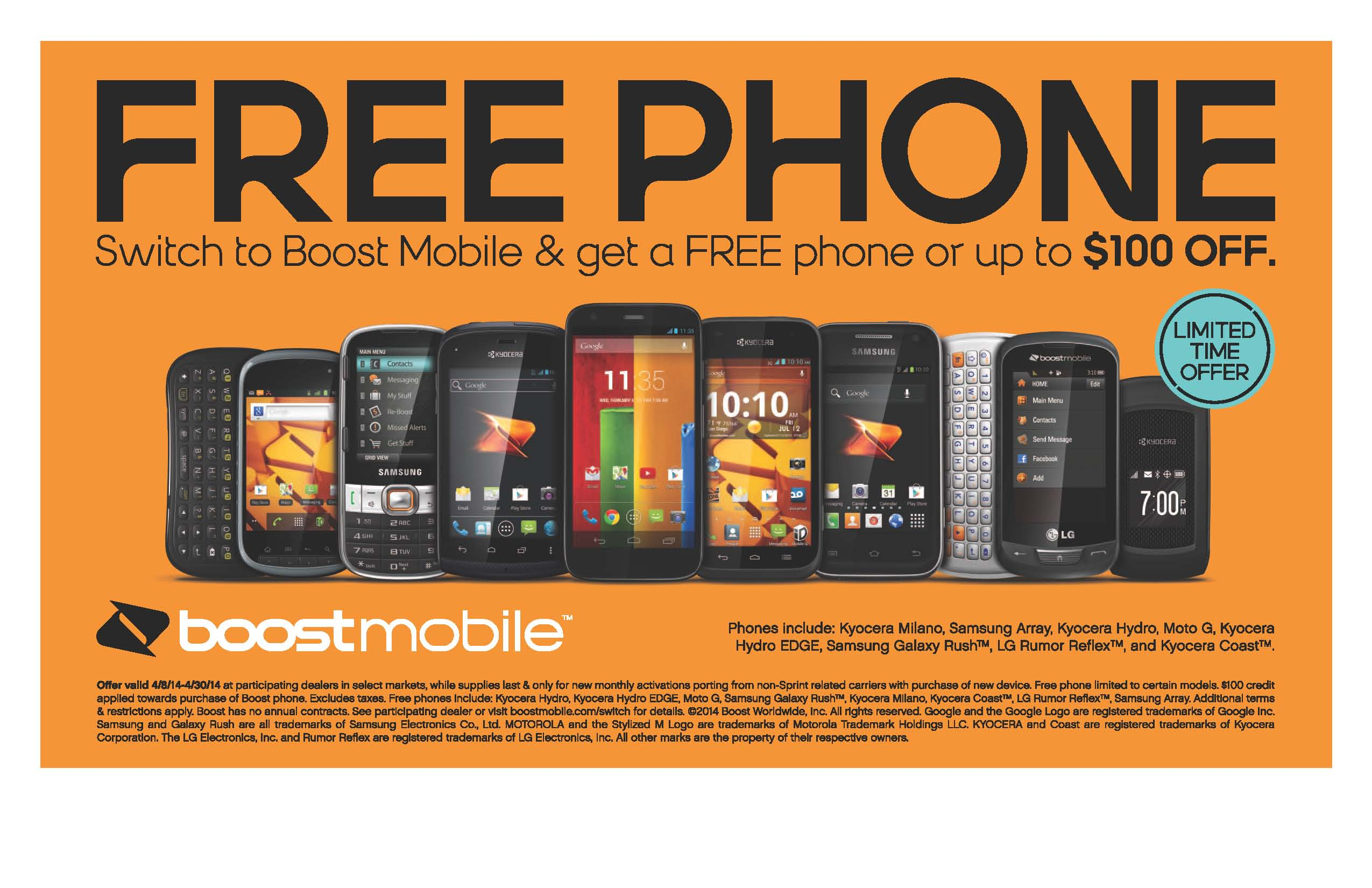 Find the latest cell phone deals available today from Boost Mobile. Get instant savings, account credit, or free gifts with a purchase online.