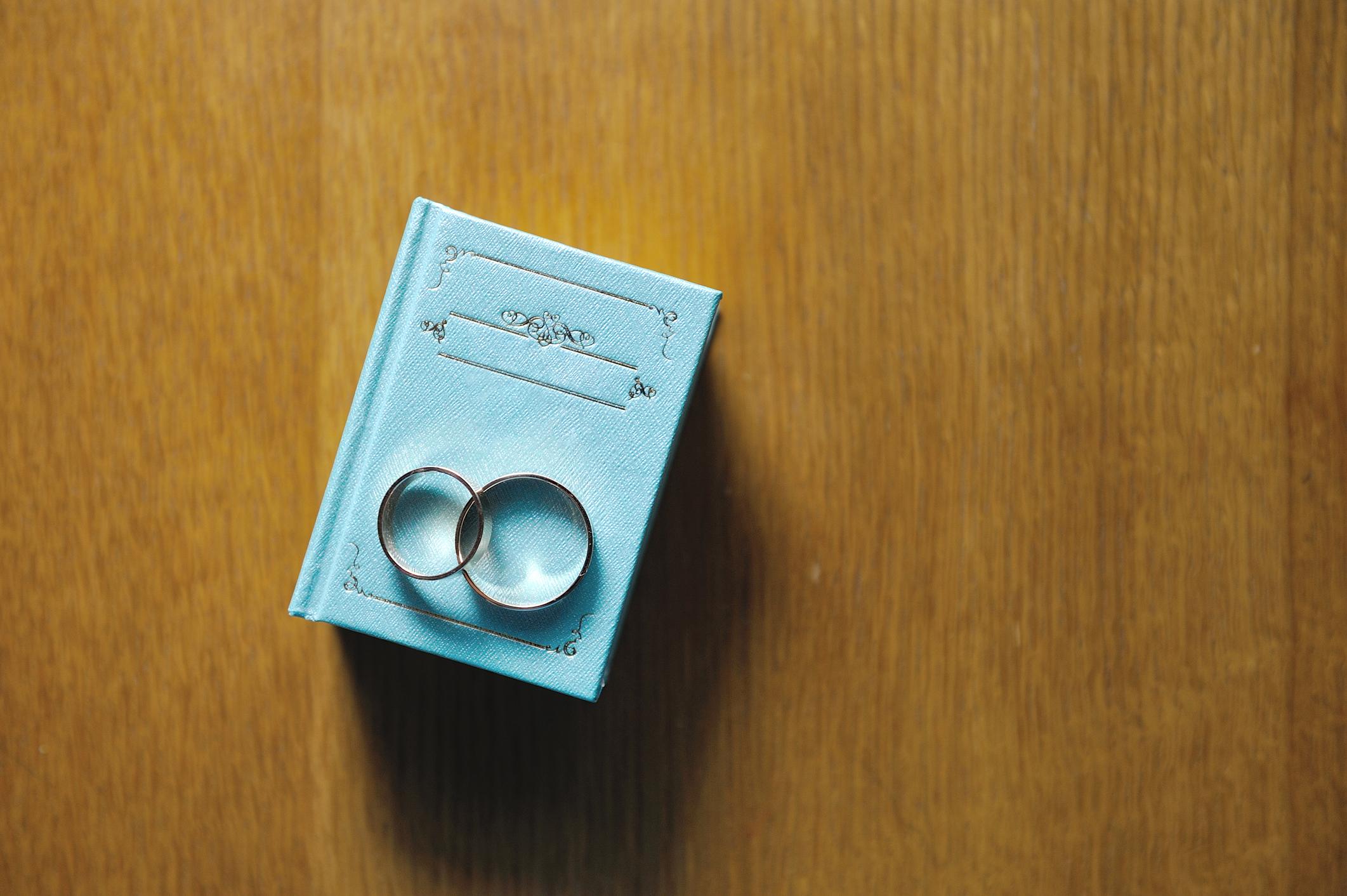 High Angle View Of Wedding Rings On Box