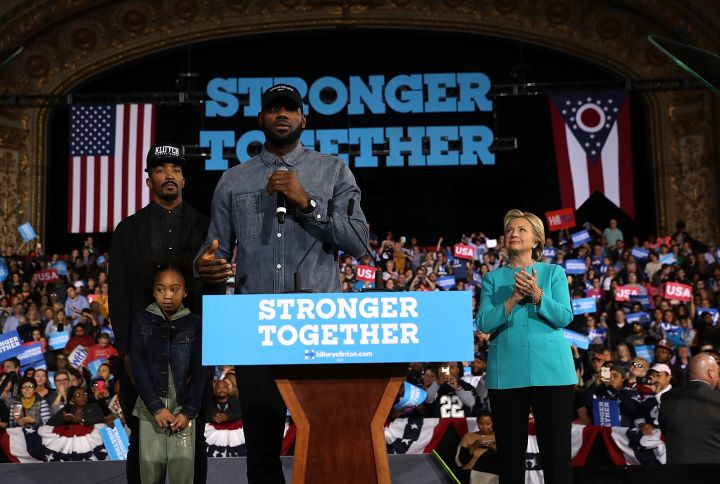 Lebron James & JR Smith Introduce Hillary Clinton at #GetOutTheVote In Cleveland [Photos]