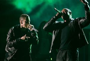 Eminem and Dr. Dre, right, perform at the 53rd Annual Grammy Awards held at the Staples Center on F