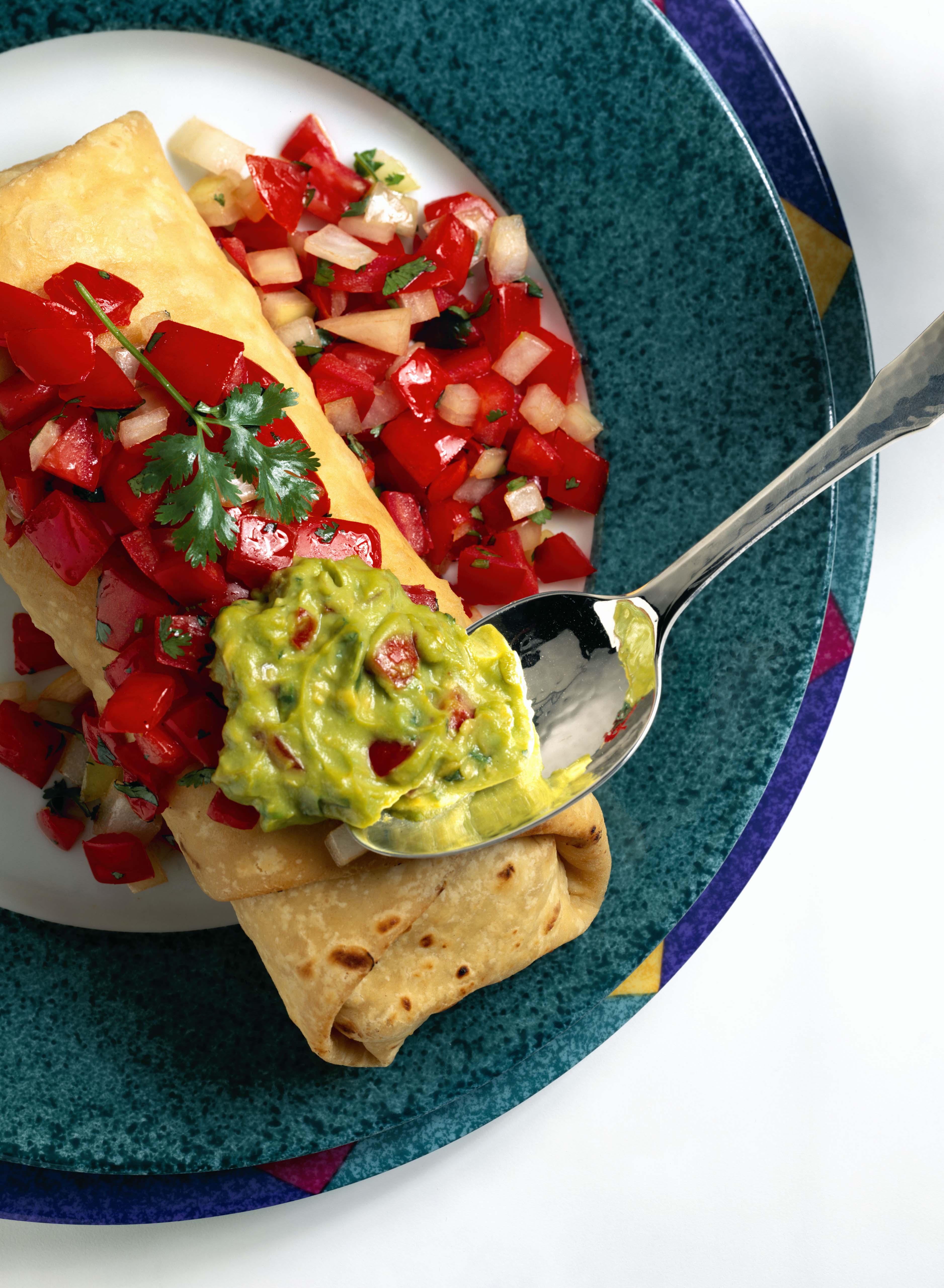 Chimichanga with guacamole and salsa