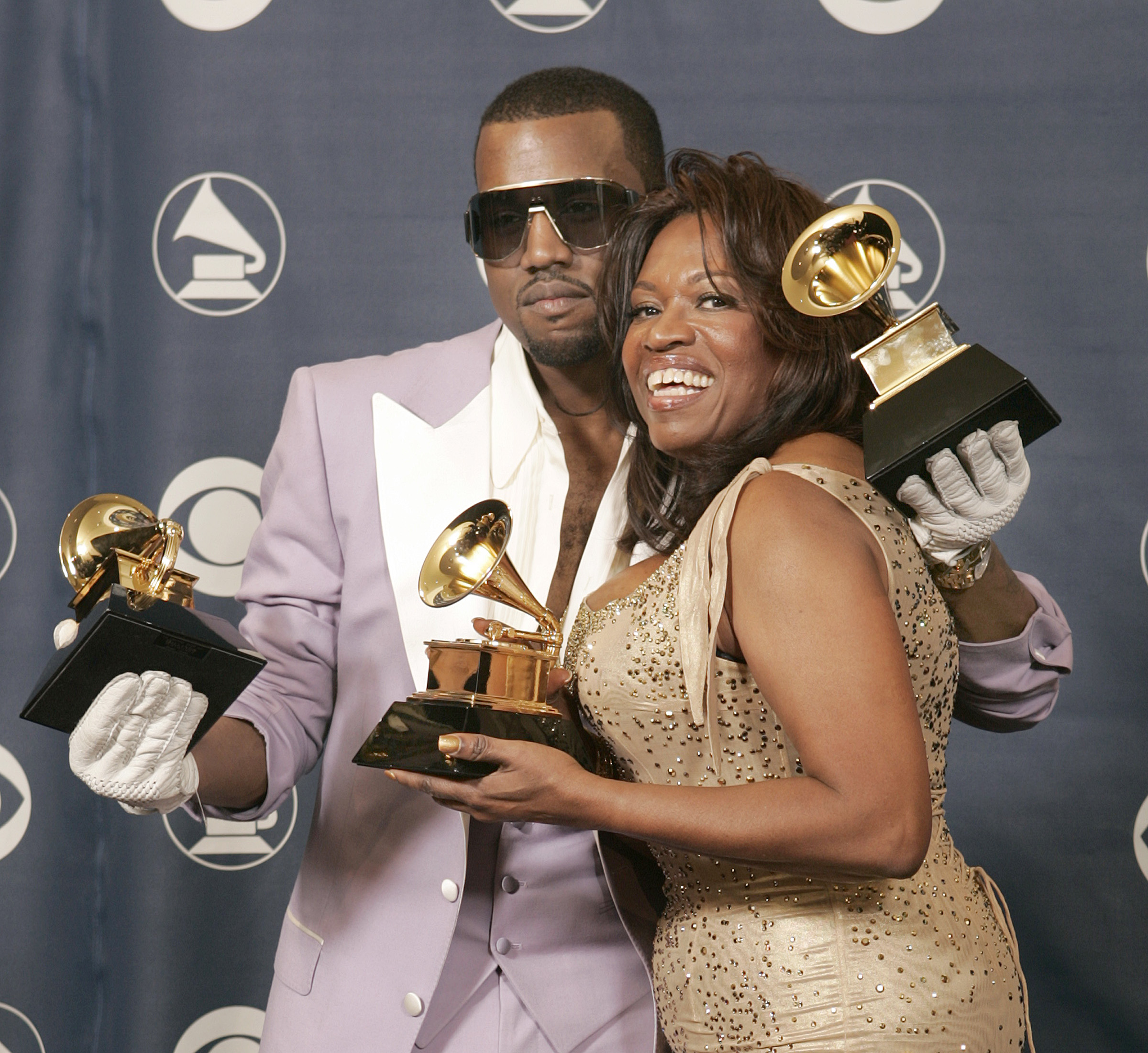 Kayne West with his mother, Donda West, won three Grammys at the 48th Annual Grammy Awards at the S