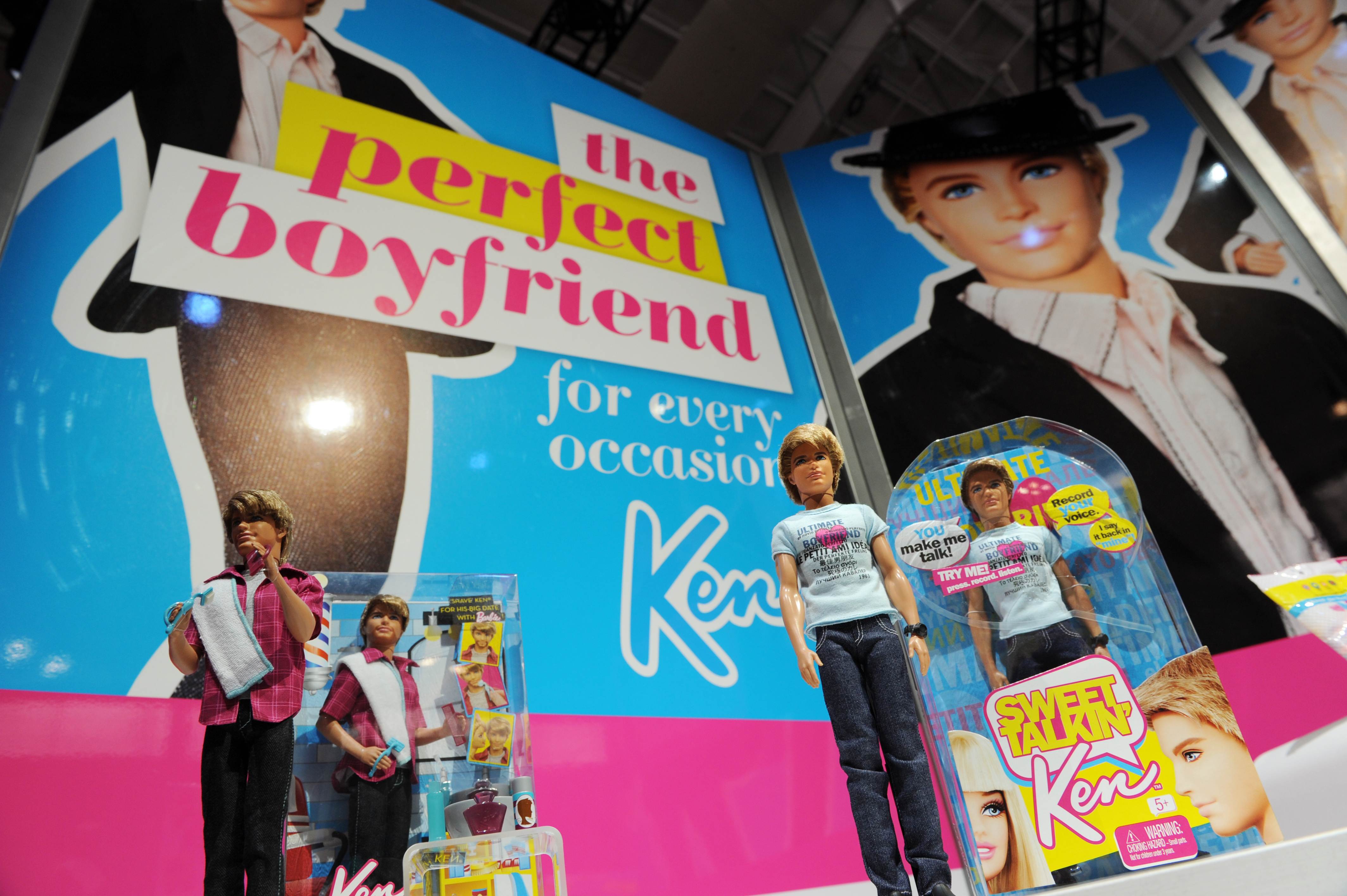 A display of Ken dolls from the Barbie l