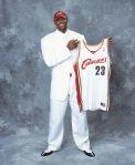 LeBron James poses