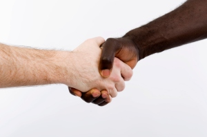 Black and white shaking hands