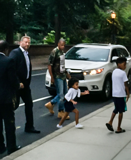 Jay Z and Blue Ivy Carter are seen leaving a restaurant in Philadelphia, PA