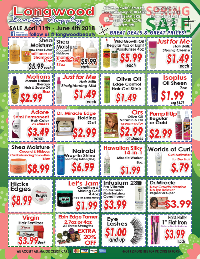 Longwood Beauty April Sales