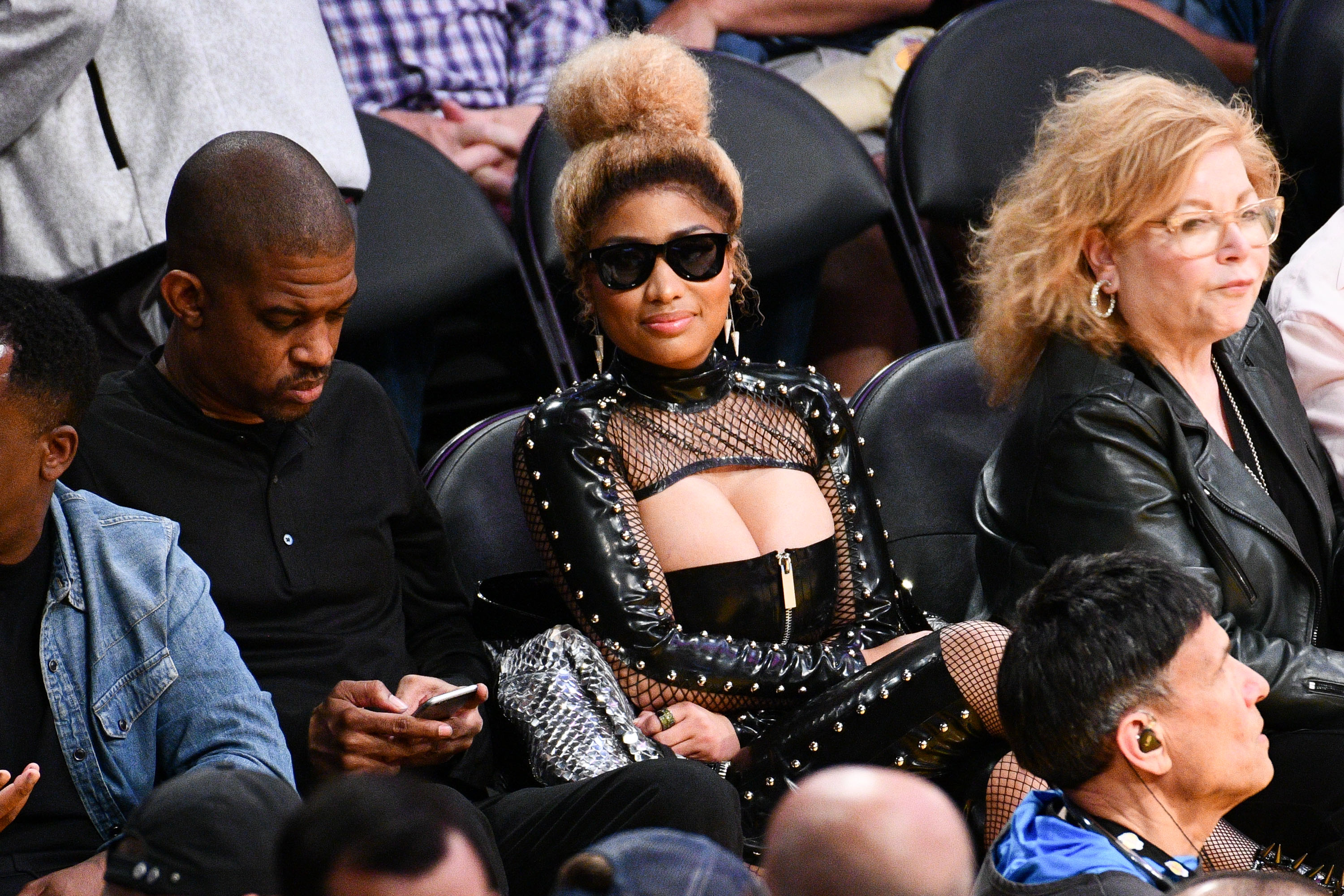 166bf2c5822dde Nicki Minaj Comes Out Of Hiding Front Row At The Lakers Game   Hot 96.3