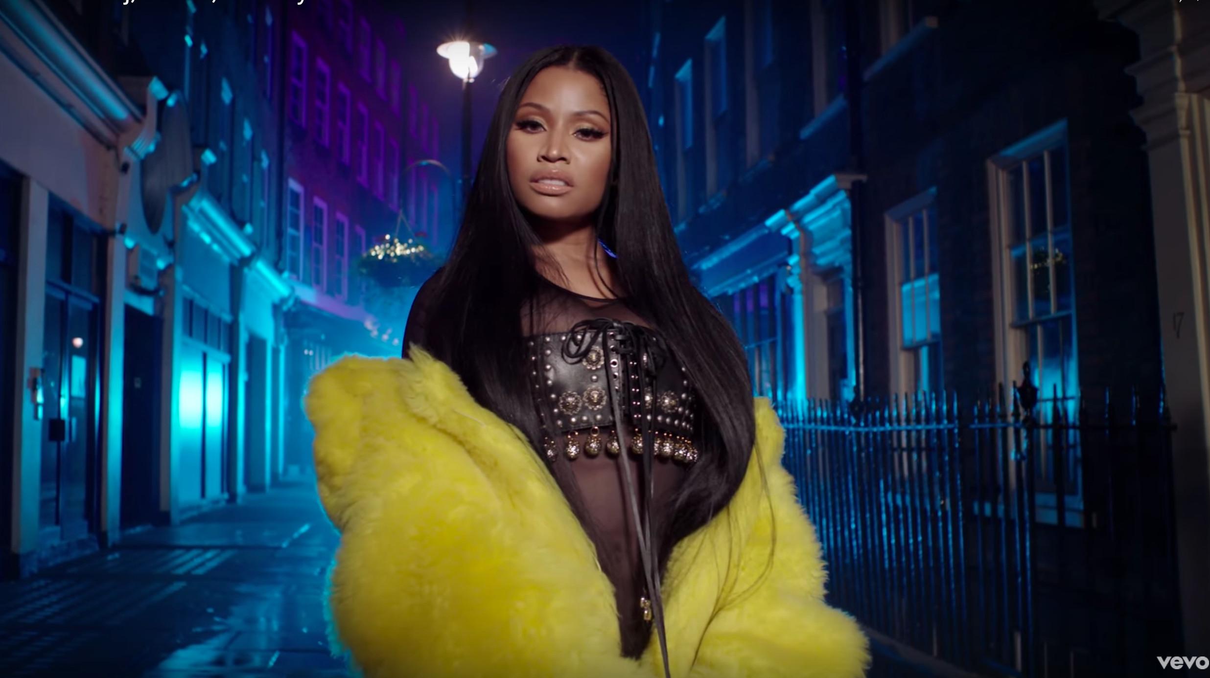 The video for Nicki Minaj's track No Frauds, featuring Drake and Lil Wayne