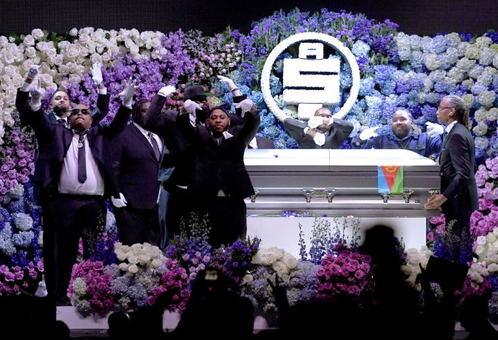 Pallbearers onstage during Nipsey Hussle's Celebration of Life