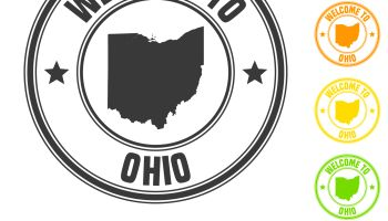 Welcome to Ohio stamp - Colorful badges on white background