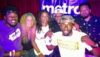 Winner Connie Sun takes a photo with judges of the Dope or Nope Showcase Presented By Metro By T-Mobile