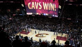 The Golden State Warriors leave the court as the Cleveland Cavaliers celebrate their 115-101 win for Game 6 of the NBA Finals at Quicken Loans Arena in Cleveland, Ohio, on Thursday, June 16, 2016. (Nhat V. Meyer/Bay Area News Group)